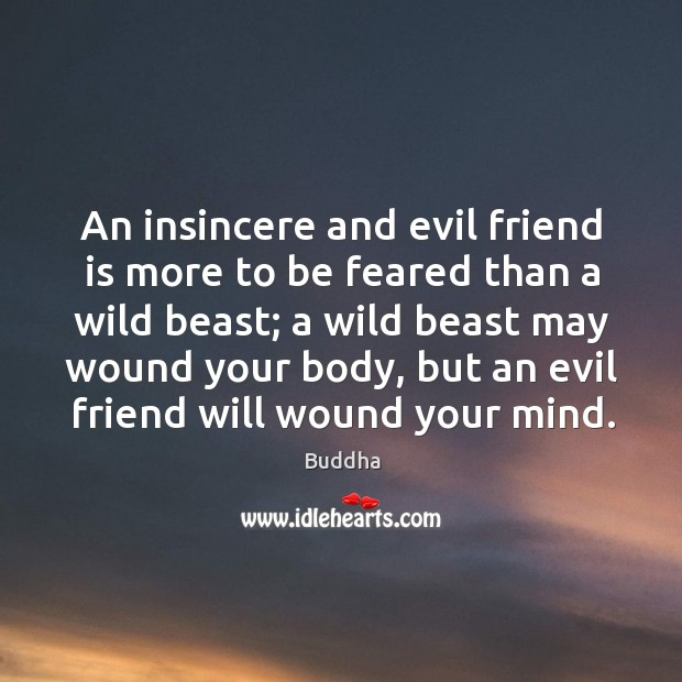 An insincere and evil friend is more to be feared than a wild beast; a wild beast may wound your body Buddha Picture Quote