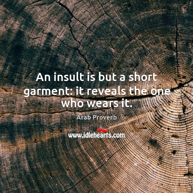 An insult is but a short garment: it reveals the one who wears it. Arab Proverbs Image