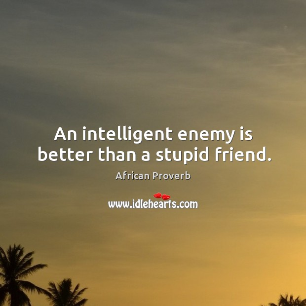 Image, An intelligent enemy is better than a stupid friend.