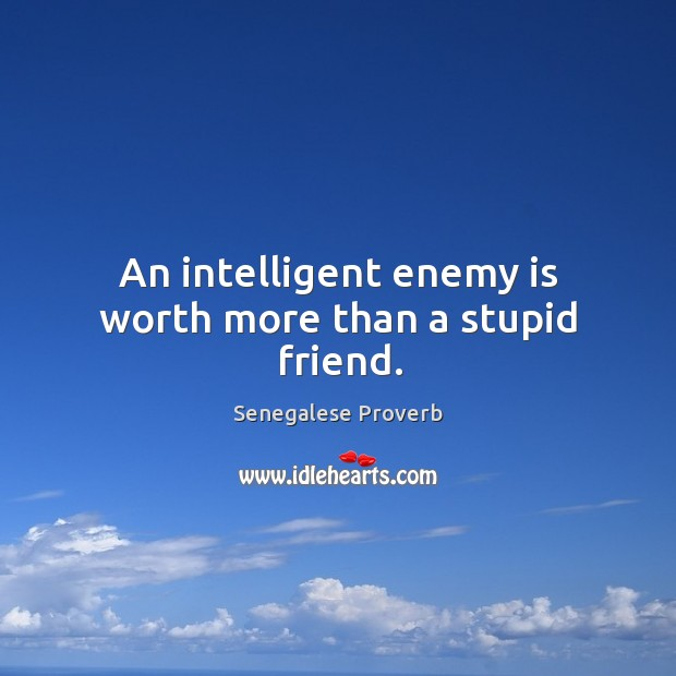 An intelligent enemy is worth more than a stupid friend. Senegalese Proverbs Image