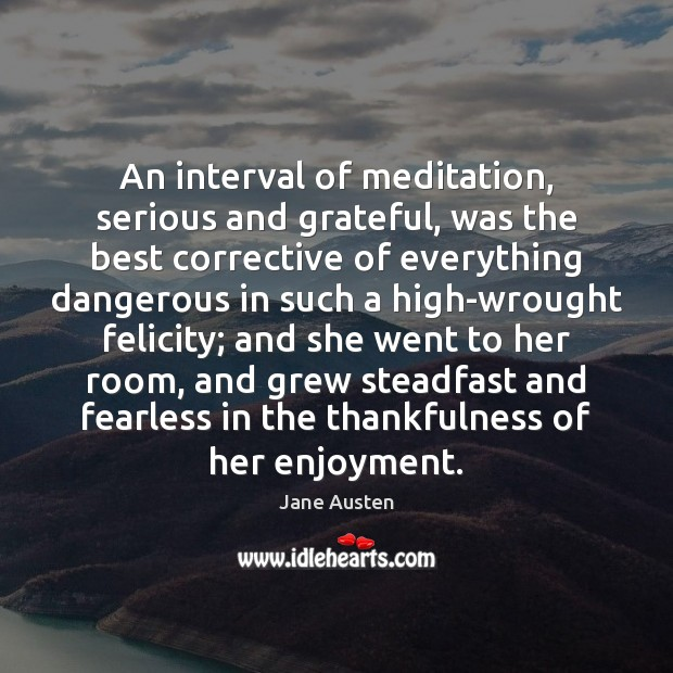 An interval of meditation, serious and grateful, was the best corrective of Image