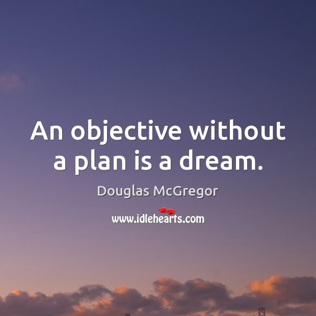 An objective without a plan is a dream. Image