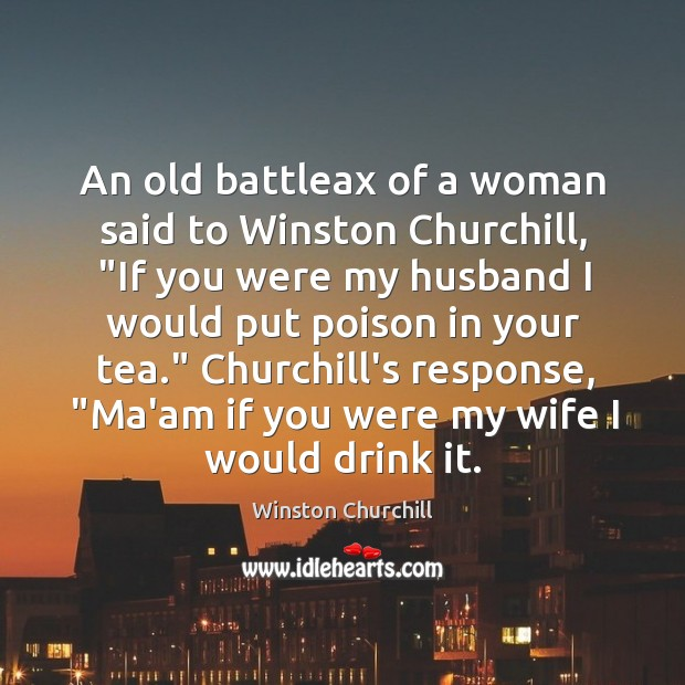 "Image, An old battleax of a woman said to Winston Churchill, ""If you"