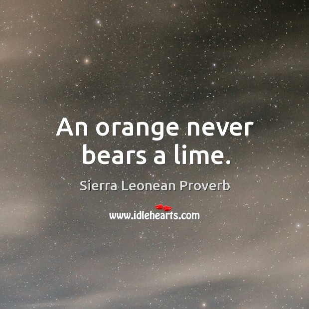 An orange never bears a lime. Sierra Leonean Proverbs Image