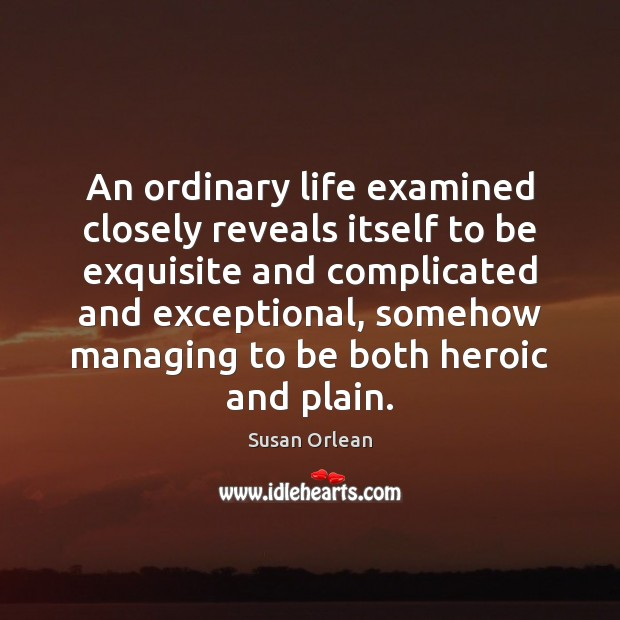 An ordinary life examined closely reveals itself to be exquisite and complicated Susan Orlean Picture Quote