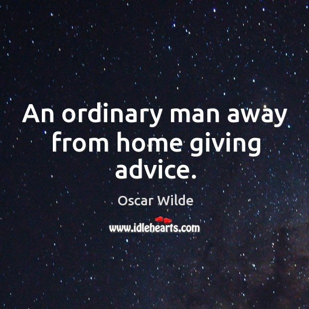 An ordinary man away from home giving advice. Image