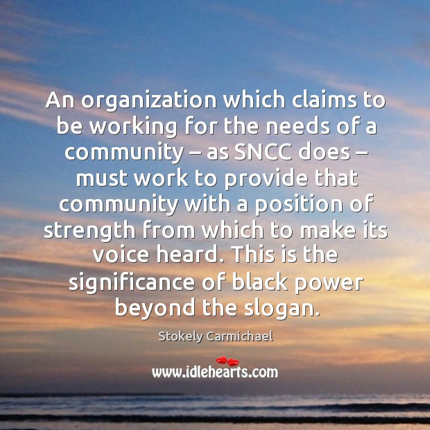 An organization which claims to be working for the needs of a community – as sncc does Image