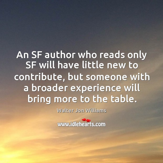An sf author who reads only sf will have little new to contribute, but someone with a Image