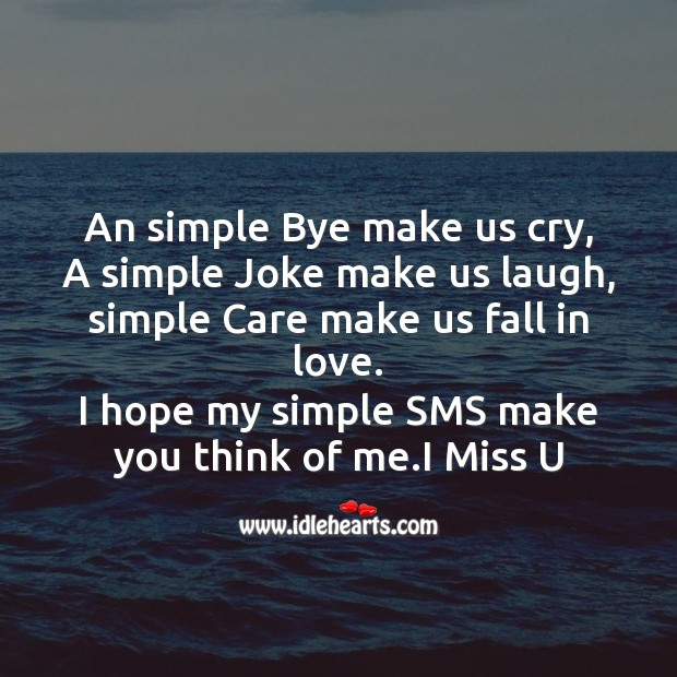 An simple bye make us cry Missing You Messages Image