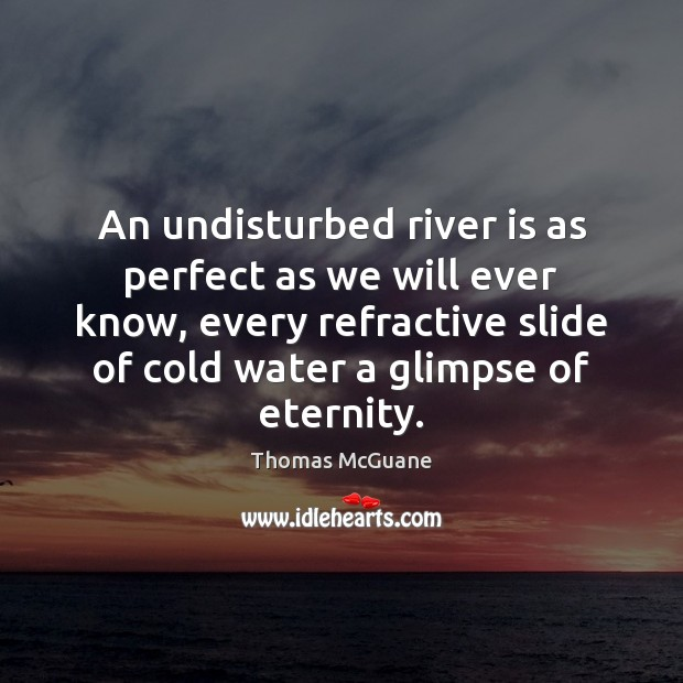 An undisturbed river is as perfect as we will ever know, every Water Quotes Image
