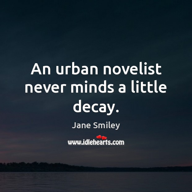 An urban novelist never minds a little decay. Jane Smiley Picture Quote