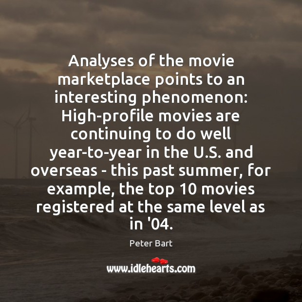Image, Analyses of the movie marketplace points to an interesting phenomenon: High-profile movies
