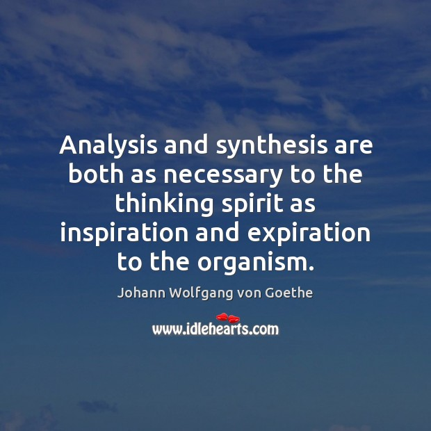 Analysis and synthesis are both as necessary to the thinking spirit as Johann Wolfgang von Goethe Picture Quote