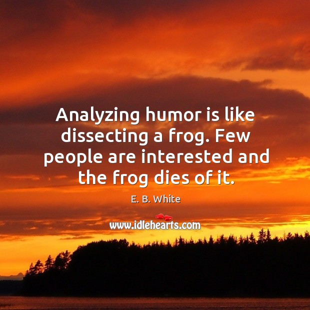 Analyzing humor is like dissecting a frog. Few people are interested and the frog dies of it. Image