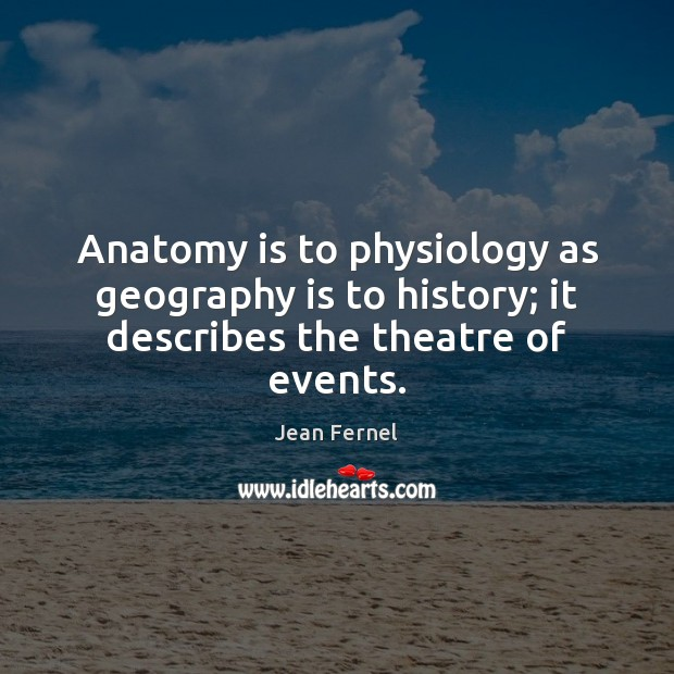 Image, Anatomy is to physiology as geography is to history; it describes the theatre of events.