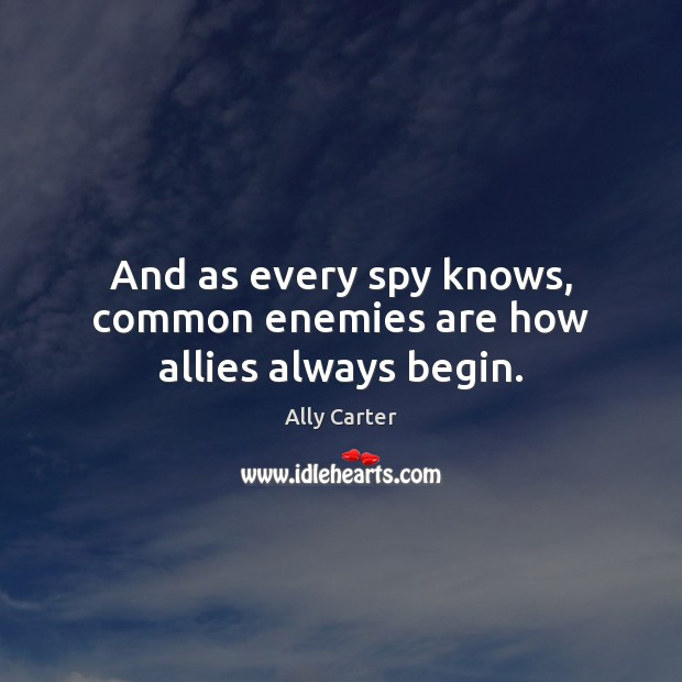 And as every spy knows, common enemies are how allies always begin. Ally Carter Picture Quote