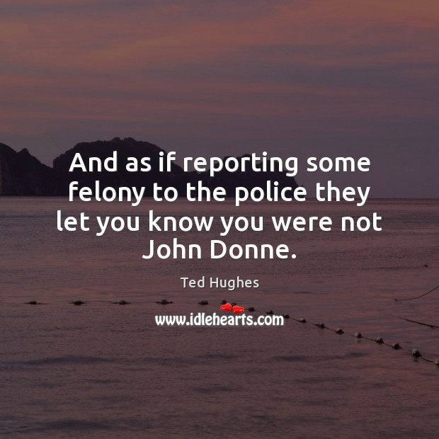 And as if reporting some felony to the police they let you know you were not John Donne. Ted Hughes Picture Quote