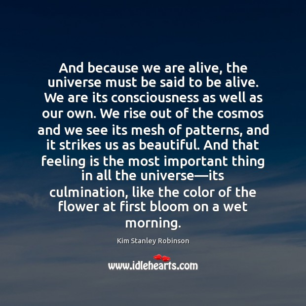And because we are alive, the universe must be said to be Kim Stanley Robinson Picture Quote
