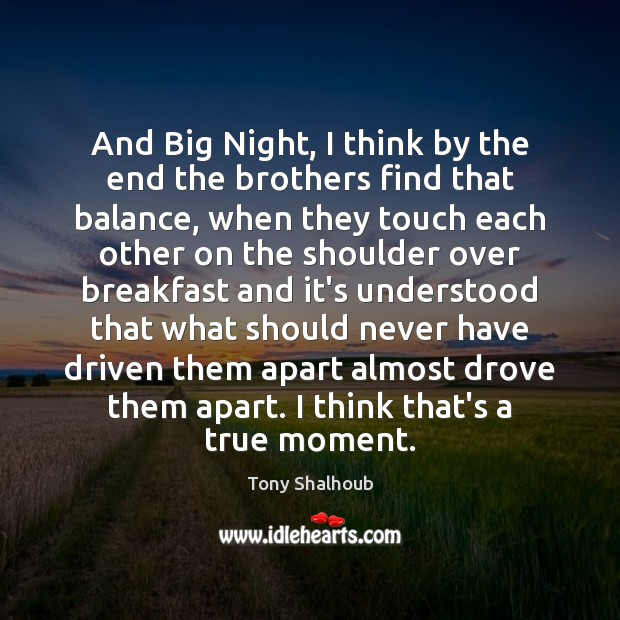 And Big Night, I think by the end the brothers find that Tony Shalhoub Picture Quote