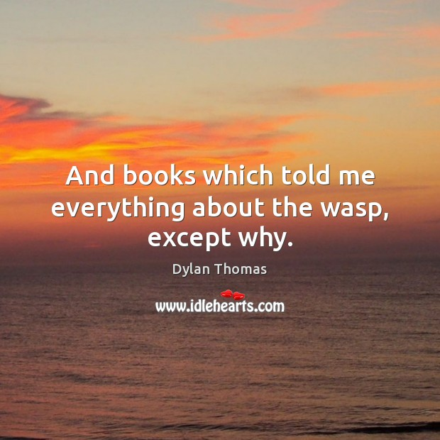 And books which told me everything about the wasp, except why. Dylan Thomas Picture Quote