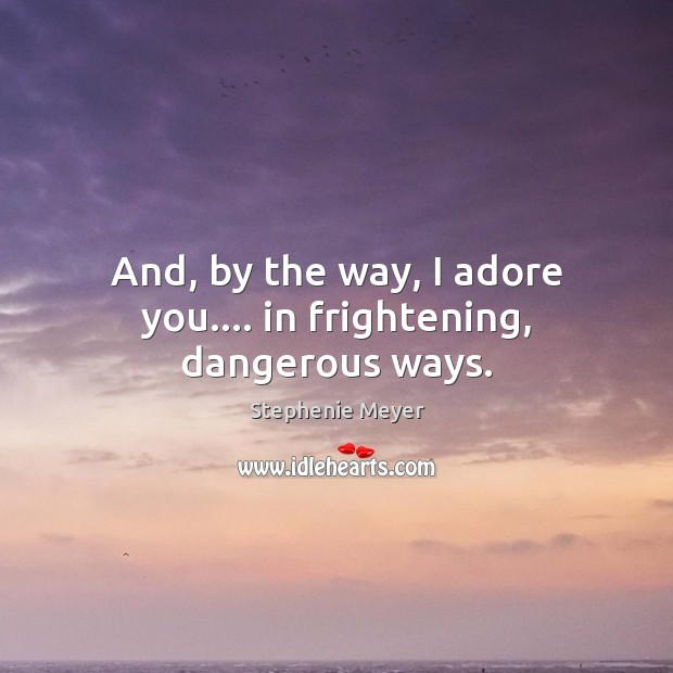 And, by the way, I adore you…. in frightening, dangerous ways. Stephenie Meyer Picture Quote