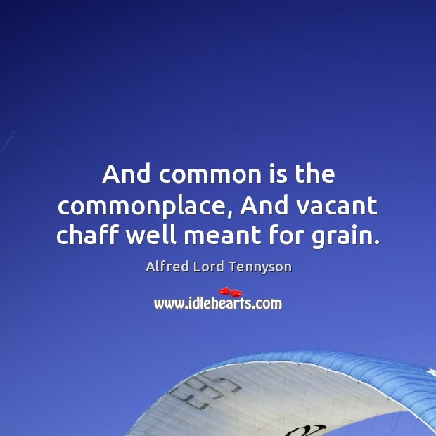 And common is the commonplace, And vacant chaff well meant for grain. Alfred Lord Tennyson Picture Quote