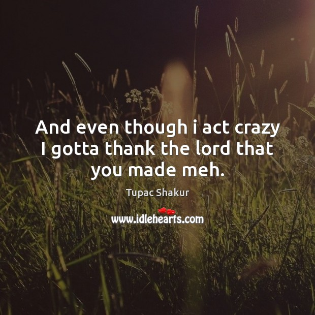 And even though i act crazy I gotta thank the lord that you made meh. Image