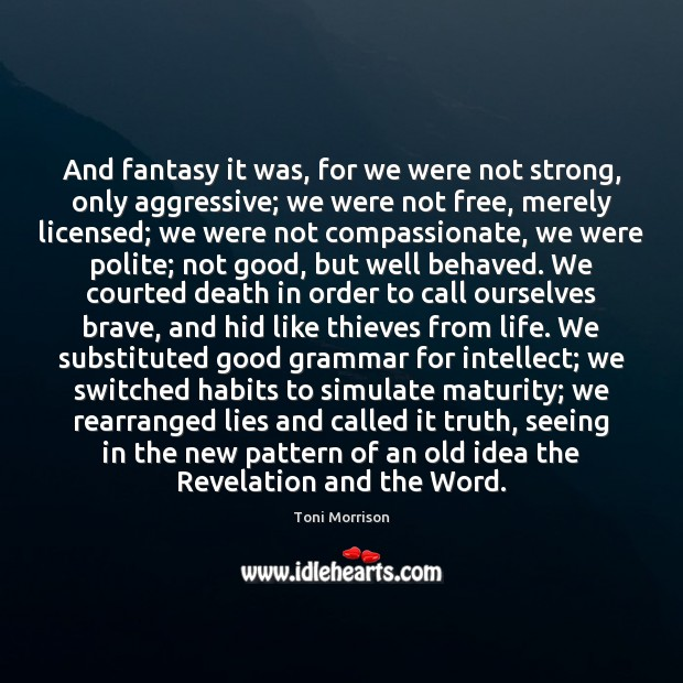 And fantasy it was, for we were not strong, only aggressive; we Image