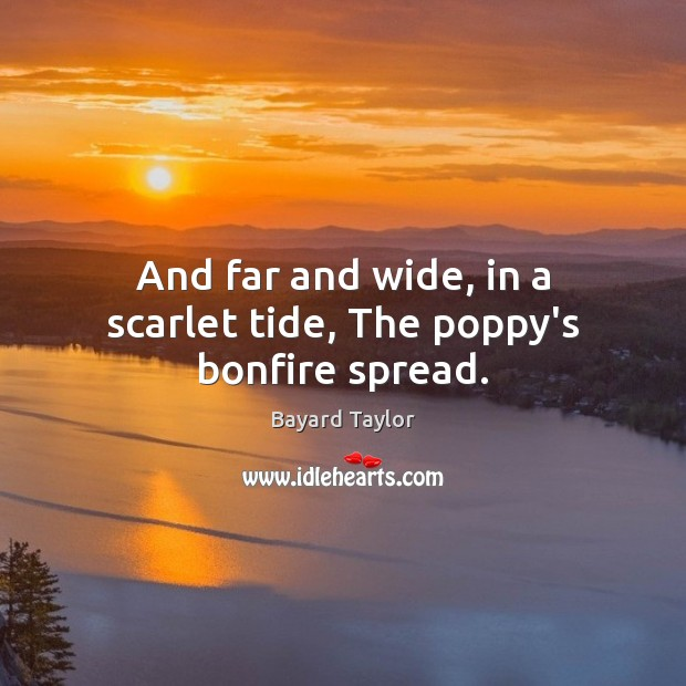 And far and wide, in a scarlet tide, The poppy's bonfire spread. Bayard Taylor Picture Quote