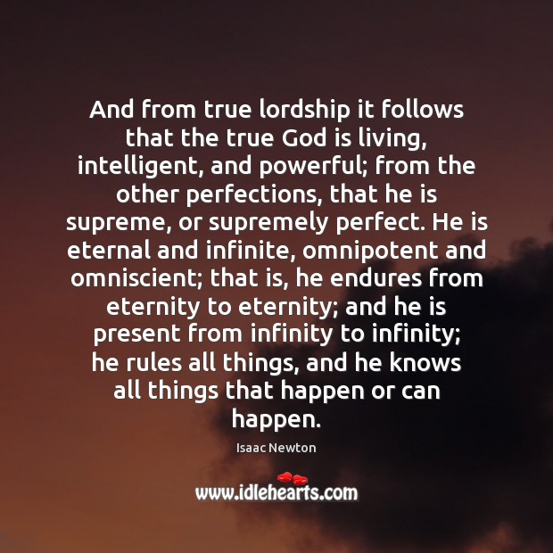 And from true lordship it follows that the true God is living, Image