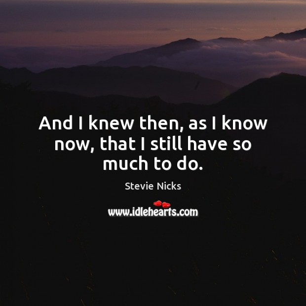 And I knew then, as I know now, that I still have so much to do. Stevie Nicks Picture Quote