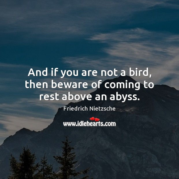 And if you are not a bird, then beware of coming to rest above an abyss. Image