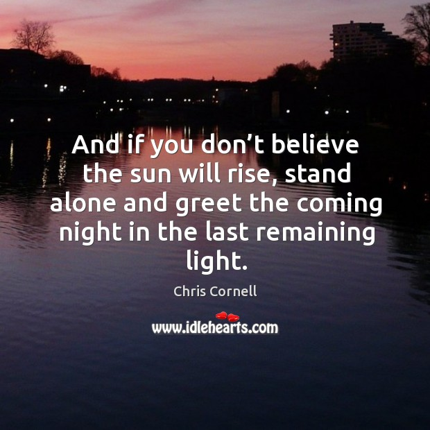 And if you don't believe the sun will rise, stand alone and greet the coming night in the last remaining light. Chris Cornell Picture Quote