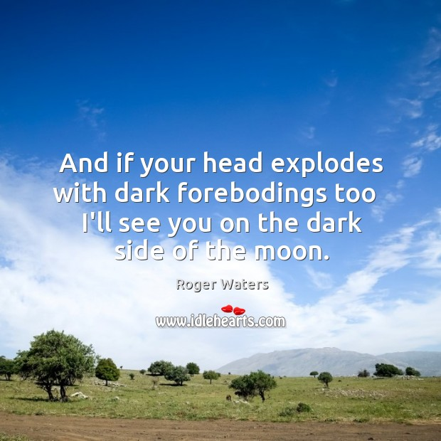 And if your head explodes with dark forebodings too   I'll see you Roger Waters Picture Quote
