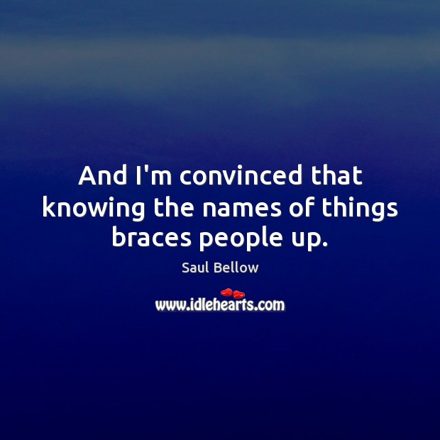 And I'm convinced that knowing the names of things braces people up. Saul Bellow Picture Quote