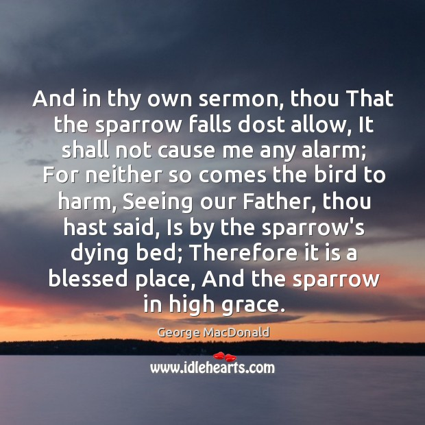 Image, And in thy own sermon, thou That the sparrow falls dost allow,
