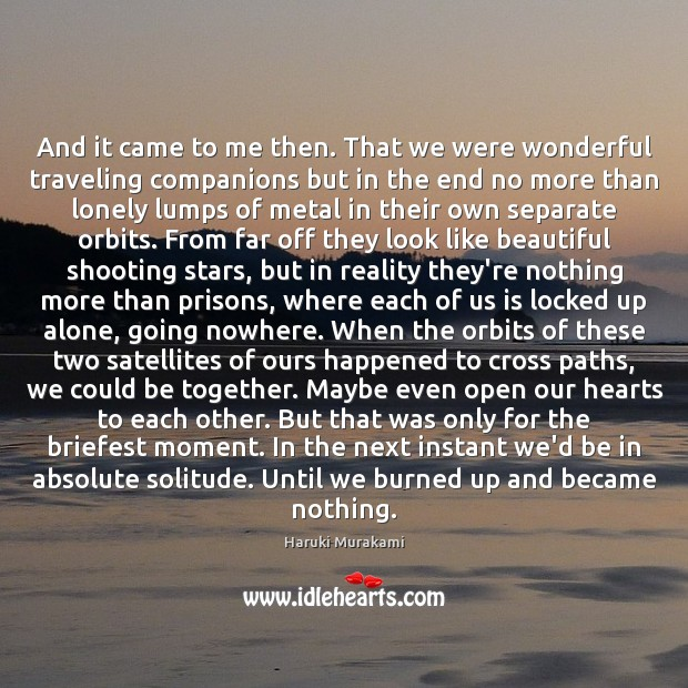 And it came to me then. That we were wonderful traveling companions Haruki Murakami Picture Quote