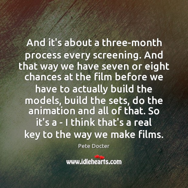 And it's about a three-month process every screening. And that way we Pete Docter Picture Quote