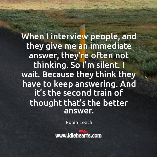 And it's the second train of thought that's the better answer. Image