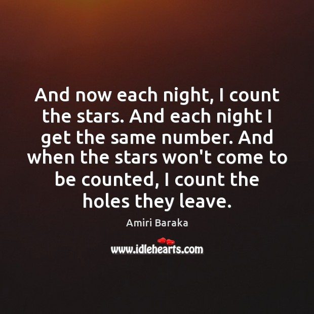 Image, And now each night, I count the stars. And each night I