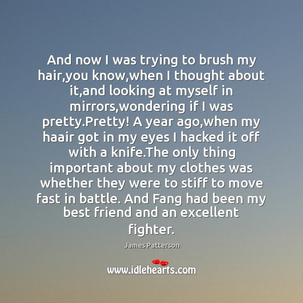And now I was trying to brush my hair,you know,when James Patterson Picture Quote