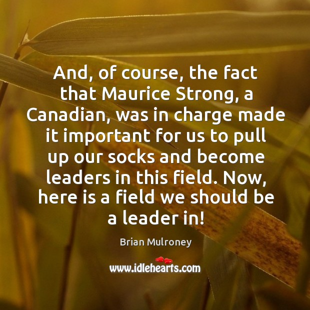 And, of course, the fact that maurice strong, a canadian, was in charge made it important Image