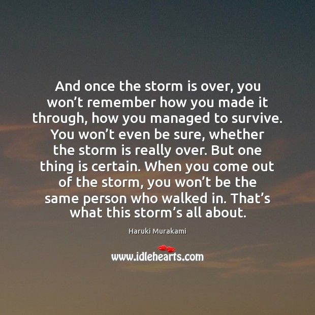 Image, And once the storm is over, you won't remember how you