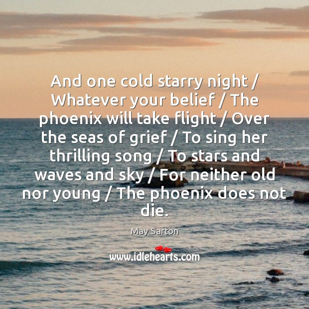 And one cold starry night / Whatever your belief / The phoenix will take May Sarton Picture Quote
