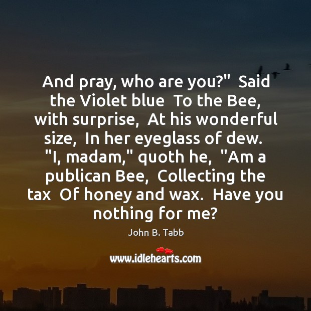 """And pray, who are you?""""  Said the Violet blue  To the Bee, Image"""