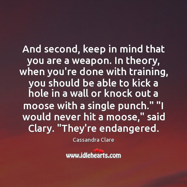And second, keep in mind that you are a weapon. In theory, Image