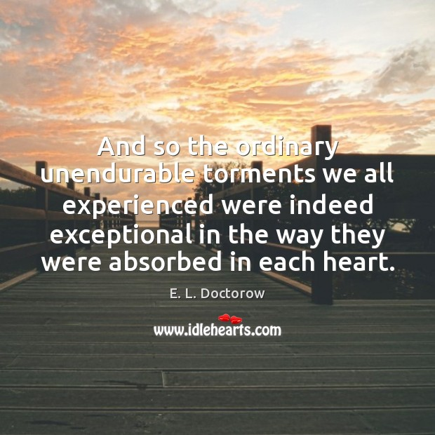 And so the ordinary unendurable torments we all experienced were indeed exceptional E. L. Doctorow Picture Quote