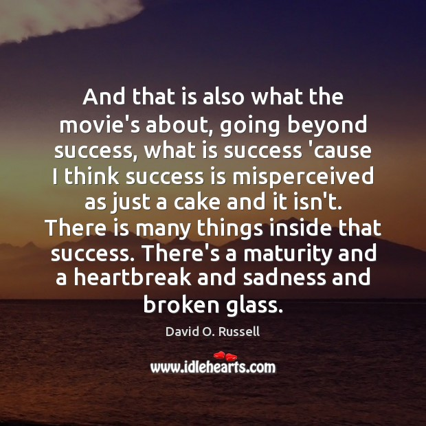 And that is also what the movie's about, going beyond success, what David O. Russell Picture Quote