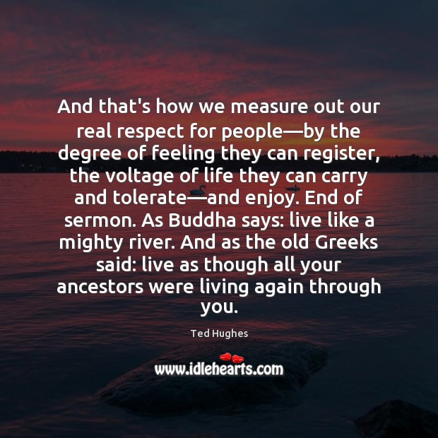And that's how we measure out our real respect for people—by Ted Hughes Picture Quote