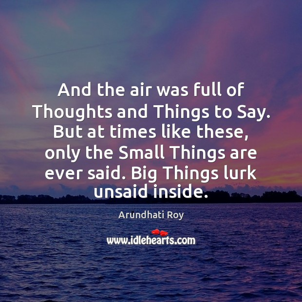 And the air was full of Thoughts and Things to Say. But Arundhati Roy Picture Quote
